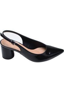 Sapato Feminino Salto Baixo Bico Fino Mariotta Preto