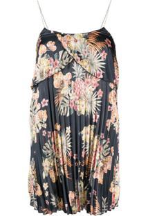 Liu Jo Vestido Com Pregas E Estampa Floral - Azul