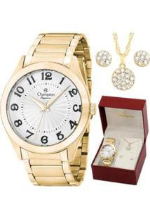 Kit Relógio Champion Analógico Feminino - Feminino-Dourado