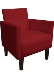Poltrona Decorativa Compacta Jade Corino Vermelho Com Pés Baixo Chanfrado - D'Rossi