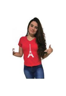 Camiseta Feminina Gola V Cellos Eifel Tower Premium Vermelho