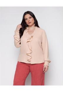 Blusa Almaria Plus Size Pianeta Creponada Feminina - Feminino-Rosa Claro