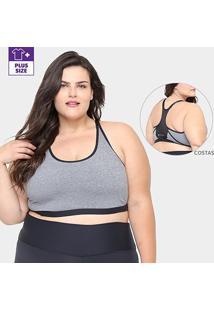 Top Gonew Plus Size Alta Sustentação Com Alças Reguláveis - Feminino-Mescla