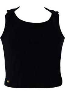 Blusa Knt Top Cropped - Feminino-Preto