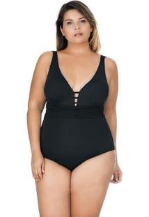 Maiô Plus Size Decote V Com Faixa Drapeada Agridoce Feminino - Feminino-Preto