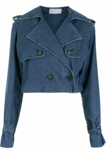 Andrea Bogosian Jaqueta Cropped Jeans - Azul