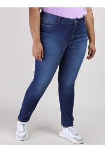 Calça Jeans Feminina Plus Size Super Skinny Cintura Alta Azul Escuro