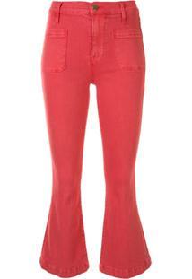 Frame Calça Jeans Flare Cintura Baixa - Rosa
