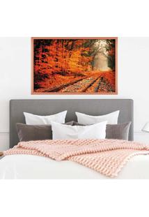 Quadro Love Decor Com Moldura Ferrovia Rose Metalizado - Grande