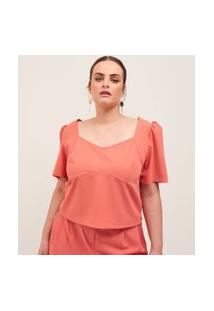 Blusa Cropped Lisa Em Alfaiataria Curve & Plus Size | Ashua Curve E Plus Size | Laranja | Eg