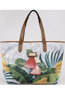 Bolsa Feminina Água De Coco Shopper Grande Estampada Cesto De Frutas Off White