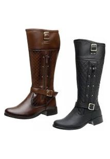 Bota Kit 2 Pares Montaria Ousy Shoes Cano Longo Preta Capuccino