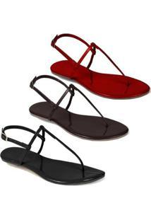 Kit 3 Sandálias Flat Rasteira Feminina Mercedita Shoes - Feminino-Preto