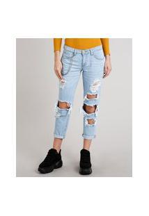 Calça Jeans Feminina Girlfriend Destroyed Com Corrente Azul Claro