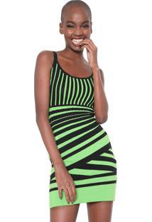 Vestido Neon Colcci Curto Ajustado Listrado Verde