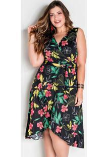 Vestido Transpassado Com Babado Plus Size Floral