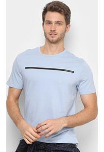 Camiseta Calvin Klein Faixa Logo Masculina - Masculino-Azul Claro
