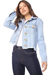 Jaqueta Jeans Lança Perfume Botões Azul