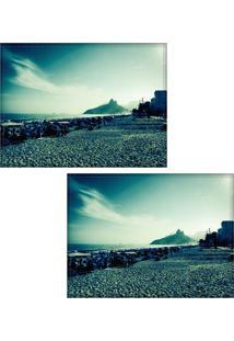 Jogo Americano Colours Creative Photo Decor - Paisagem Da Praia De Ipanema No Rio De Janeiro, Rj - 2 Peças