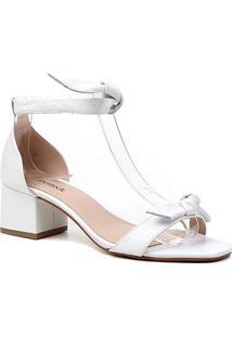 Sandália Couro Shoestock Salto Bloco Médio Tiras Feminina - Feminino-Branco