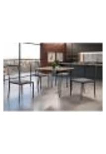 Conjunto De Mesa De Jantar Grécia Com Tampo Mocaccino E 4 Cadeiras Atos Linho Cinza E Grafite