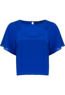 Corporeum Blusa Mangas Curtas De Seda - Azul