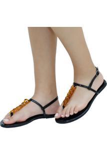 Sandália Rasteira Mercedita Shoes Verniz Preto Corrente Resina Tartaruga Ultra Conforto Anatômica