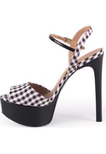 Sandália Paula Brazil Shoes Store Meia Pata Xadrez Preta