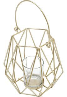 Porta Vela Metal Dourado 15X15Cm Royal