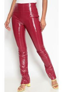 Calça Skinny Envernizada- Vinho- Max Glammmax Glamm