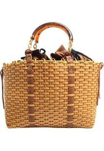 Bolsa Shop Bag Trançada - Feminino-Caramelo