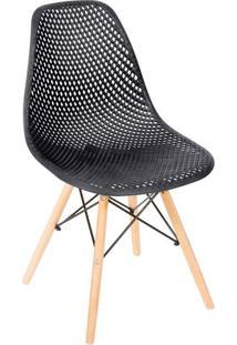 Cadeira Eames Colmeia- Preta & Madeira Clara- 82,5X4Or Design