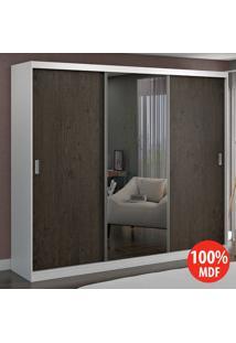Guarda Roupa 3 Portas Com 1 Espelho 100% Mdf 774E1 Branco/Málaga - Foscarini