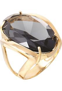 Anel Pedra Cristal Zircônia Fumê Translúcido Lapidado Banhado A Ouro 18K - Tricae