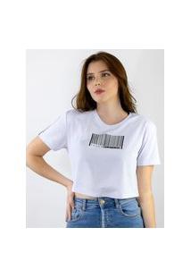 Camiseta Cropped Estampado Codigo Branca, Cor: Branco, Tamanho: Pp Branco