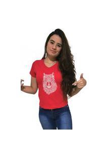 Camiseta Feminina Gola V Cellos Abstract Wolf Premium Vermelho
