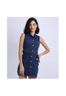 Vestido Jeans Feminino Curto Com Botões E Cinto Sem Manga Azul Médio