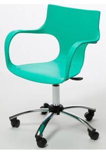 Cadeira Jim Base Giratoria Cromada Cor Verde Agua