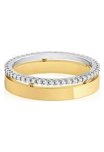 Aliança De Casamento Ouro Amarelo E Branco Com Diamantes Love Me (5Mm)