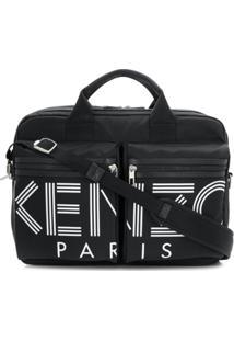 Kenzo Bolsa Para Notebook Com Estampa De Logo - Preto