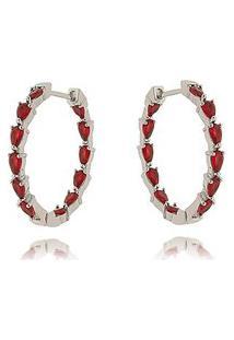 Argola Soloyou Vermelha Rubi Semijoia Fashion Em Ródio Branco