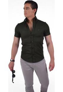 Camisa Horus Social Manga Curta Slim - Masculino-Verde