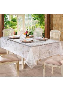 Toalha De Mesa Retangular Rosas Branca (155X250)