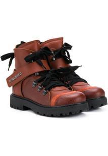 Dsquared2 Kids Ankle Boot Com Cadarço - Marrom