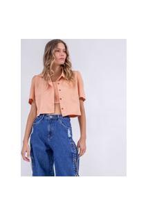 Blazer Camisa Cropped Pêssego-G Incolor