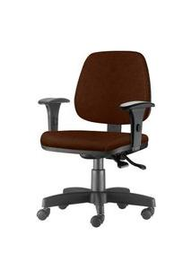 Cadeira Job Com Bracos Semi Curvados Assento Courino Marrom Base Nylon Arcada - 54631 Marrom