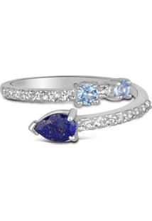 Anel Life Topã¡Zios E Lã¡Pis Lazuli