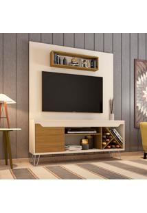 Estante Para Home Theater E Tv Até 55 Polegadas Lauren Off White E Cinamomo