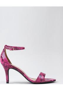 Sandália Feminina Oneself Estampada Animal Print Cobra Salto Alto Rosa Neon