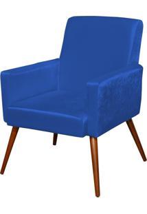 Poltrona Decorativa Para Sala De Estar E Recepção Maria Pés Palito Azul Brilho - Lyam Decor